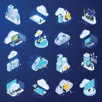 Isometric Cloud Icons Set Vector Illustration