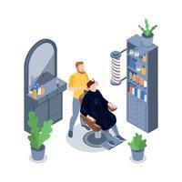 Isometric Barbershop Composition Vector Illustration