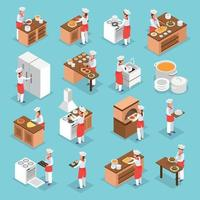 Cooking Isometric Icons Set Vector Illustration