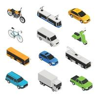 City Transport Isometric Icon Set Vector Illustration