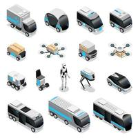 Robot Delivery Isometric Icons Vector Illustration