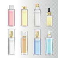 Botellas de cosméticos conjunto realista ilustración vectorial vector