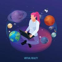Virtual Space Reality Composition Vector Illustration