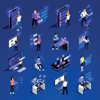 People And Interfaces Glow Isometric Icon Set Vector Illustration