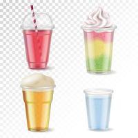 Plastic Glasses Realistic Set Vector Illustration