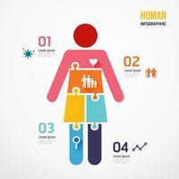 Human shape jigsaw banner. Concept Design infographic vector