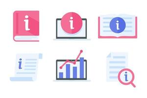 Information icon. data management reading guide Customer information assistance concept vector