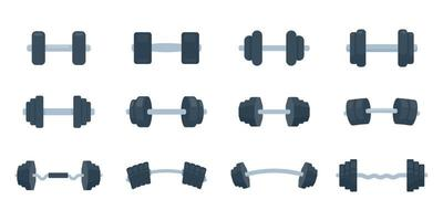 Fitness dumbbells made of steel with weights for lifting exercises to build muscle. vector