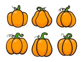 Yellow pumpkin vector for carving scary ghost faces for Halloween.
