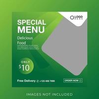 food culinary menu banner for social media post template vector