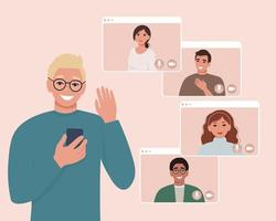 Video call conference on the phone with friends or colleagues. Vector illustration in flat style