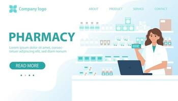 Pharmacy concept. Female pharmacist behind the counter in a drugstore selling medicine. Vector illustration in flat style for banner, landing page, web page