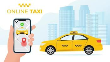 Online taxi service concept. Yellow taxi car and hand holding smartphone with taxi application on city background. Vector illustration in flat style