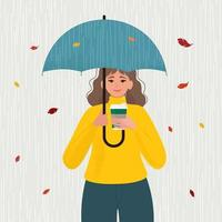 Girl with umbrella. Young Woman under an umbrella in the rain at autumn. Vector flat illustration