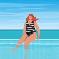 Woman in the pool with ocean background, cute vector illustration in flat style
