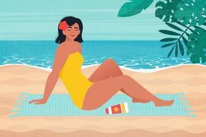 cartel retro con hermosa mujer, tomando el sol en la playa. ilustración vectorial en estilo plano vector