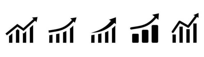 Growing graph set. Business chart with arrow. Growths chart collection. Profit growing sumbol. Progress bar. Bar diagram. Growth success arrow icon. Progress symbol. Chart increase vector