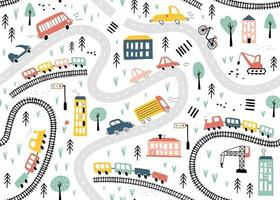 Seamless pattern with hand drawn cars, trains and road. Vector