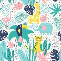 Tropical seamless pattern with toucan, flamingos, tiger. Vector