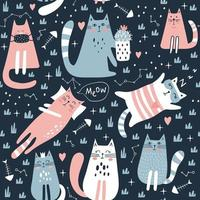 Seamless pattern with cute cat. Kids print. Vector