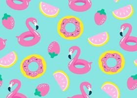 Summer pool floating with flamingo. Seamless pattern. Vector
