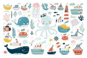 Marine animals set. Undersea world inhabitants. Vector