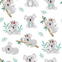 Seamless pattern with cute koala on a white background. Vector