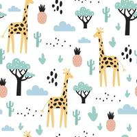 Tropical seamless pattern with giraffe, cactuses and pineapple. Vector