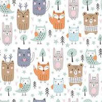 Seamless pattern with cute forest animals. Hand drawn style. Vector