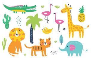 Cute wild animals. Cartoon animals.  Lion, tiger, vector