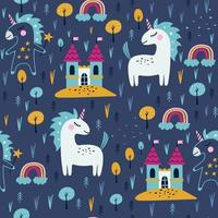 Seamless pattern with cute caticorn. Kids print. Vector