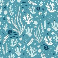 Seamless pattern with ocean corals, and seaweeds. Vector