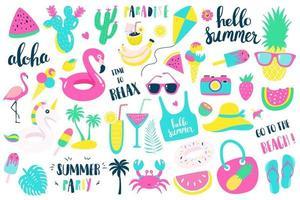 Summer set of design holiday elements, vector