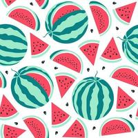 Watermelon  pattern on white background. Vector