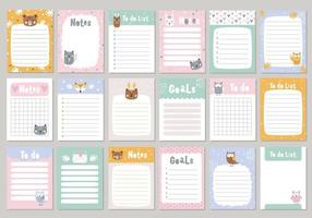Set pages for notebook with cute animals Vector