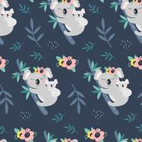 Seamless pattern with cute koala on a blue background. Vector