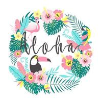 Toucan with flamingo, parrot, tropical flowers.  Vector