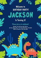 Dinosaur Birthday Party Invitation. Vector