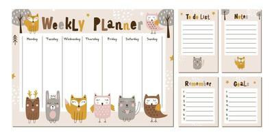 Weekly planner with cute forest animals. Vector