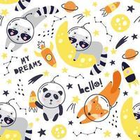 Seamless pattern with cute fox astronaut, raccoon, panda. Vector