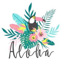 Toucan with tropical flowers, palm leaves, hibiscus, vector