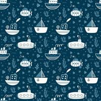 Seamless pattern with ships, submarines, sailboat. Vector