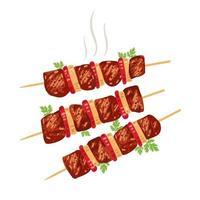 Shish kebab on skewers with onions and tomatoes. Vector