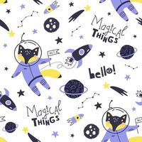 Seamless pattern with cute fox astronaut, planets, stars. Vector