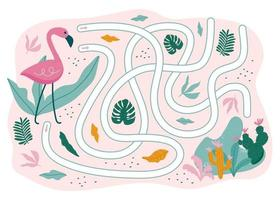 Summer Maze Game. Flamingo Way to the sea. Game for kids. Vector