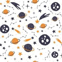 Seamless pattern with cartoon planets, stars and comets. Vector