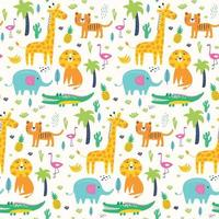 Seamless pattern wild animals in jungle. Kids vector