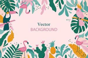 Tropical frame with space for text. vector