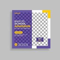 School Admission Social Media Post Template. Admission Social Media vector