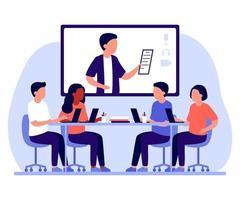 Grupo de personas que trabajan en la oficina y la comunicación en línea a través de Internet. vector